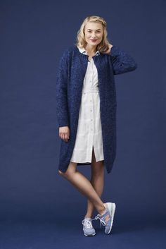 Naisen neuletakki Long Sweaters, Knit Crochet, Normcore, Sewing, Knitting, Cotton, How To Wear, Tops, Women