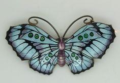 Large vintage art deco silver enamel butterfly brooch pin by j aitkin & son
