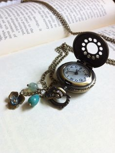 Pocket Watch Necklace Antique brass by nathalielynndesigns on Etsy, $18.99