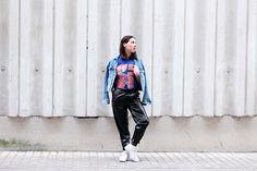 reebok , topshop, pantalon verni , look, tendance , printemps 2017