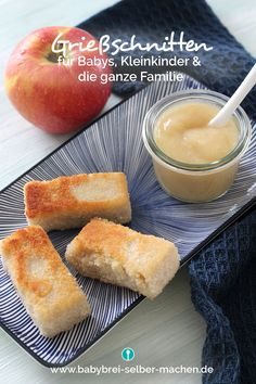 Grießschnitten für Babys und Kleinkinder (zuckerfrei, ohne Ei, vegan) Sugar-free semolina cuts for babies and toddlers. The recipe is egg-free and can also be prepared vegan with vegetable milk. Egg Recipes, Baby Food Recipes, Drink Recipes, Cooking Recipes, Fingerfood Baby, Baby Snacks, Vegan Sugar, Maila, Gourmet