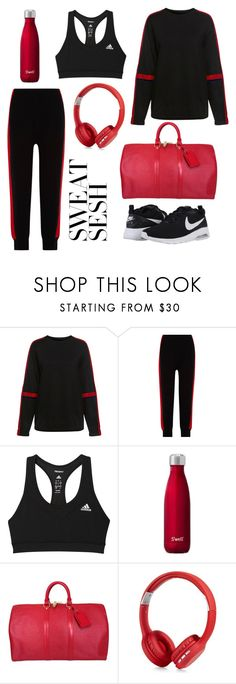 """""""Sassy sport"""" by alda-schoen ❤ liked on Polyvore featuring Public School, SJYP, adidas, Louis Vuitton, Polaroid and NIKE"""