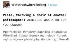 Greek Mythology Humor, Greek And Roman Mythology, Greek Gods, Tumblr Funny, Funny Memes, Jokes, Achilles And Patroclus, Greek Memes, All Meme