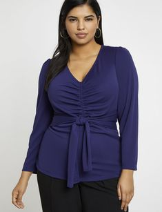 679d2b38f76 Gathered Front Tie Waist Top