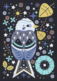 Carly Watts Art & Illustration: Snow Bunting, Star Bunting