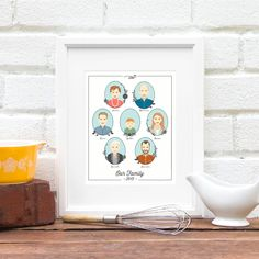 Gift for Grandma, Family Portrait Illustration, Parent Anniversary, Generations, Big Family Tree, Personalized Family - 8x10 Art Print - pinned by pin4etsy.com