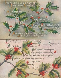 Lot of 2 Vintage Christmas Poems Holly Antique Postcards-ppp346 #Christmas