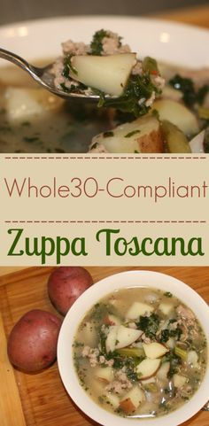 love this Zuppa Toscana potato soup because It's easy; a tad spicy and Oh, and number don't have to peel the potatoes! Whole 30 Diet, Paleo Whole 30, Whole 30 Recipes, Potato Dishes, Potato Soup, Toscana Recipe, Clean Eating, Healthy Eating, Healthy Food