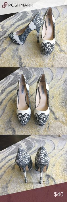 Steve Madden Platform Pumps, Size 9 These pumps are sure to make a statement! Worn only a few times with some slight discoloration on the fabric (that will probably come off with a little scrubbing). Steve Madden Shoes Heels