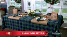 Rachel Hardage Barrett, editor in chief at @countryliving, is creating a festive holiday table setting from @hallmarkchannel's #CountdownToChristmas book!