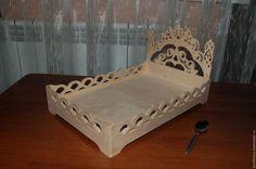 Кукольная кроватка двуспальная с высокой спинкой 345.Заготовка для декупажа и росписи.