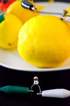 Power up a light bulb using lemons! Homemade battery using lemons, nails and wires. It's so simple. Show your kids how electric current can be generated. High School Science Projects, Middle School Science, Science For Kids, Kids Learning Activities, Science Activities, Food Science, Science Stations, Kitchen Science, Science Resources