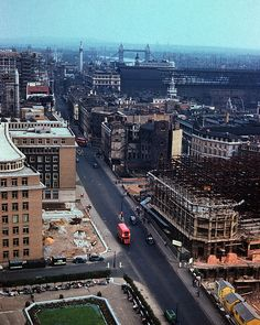 View from St. Pauls (1957) by Krogen, via Flickr Interesting view of the rebuilding from wartime bombing - the structure on the right in scaffolding is Bracken House