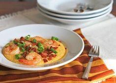 Polenta con gamberetti e pancetta