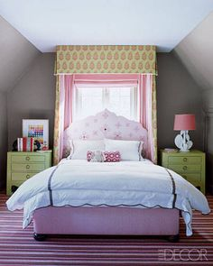 Pretty in pink girls room from ELLE DECOR! #laylagrayce #childrensroom