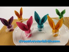 DIY Paper Crafts:Bunny.Rabbit Napkins Folding - How to Easter Kids Origami Tutorial, My Crafts and