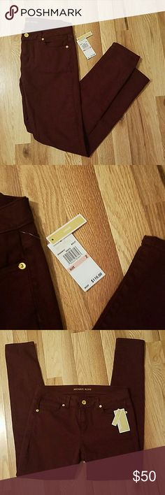 Michael Kors Jeans NWT Micheal by Michael Kors skinny jeans. Dark red/maroon color. Add some color to your wardrobe! MICHAEL Michael Kors Jeans Skinny