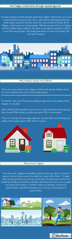 Not only is renting better than buying in Calgary but the optimal living conditions makes Calgary one of the top choices for people. With beautiful houses at affordable rents, it cannot get better than Calgary when thinking of moving to the place.