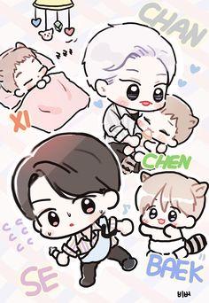 Kpop Exo, Kyungsoo, Chanyeol, Exo Cartoon, Exo For Life, Exo Anime, Exo Fan Art, Short Comics, Animal Drawings