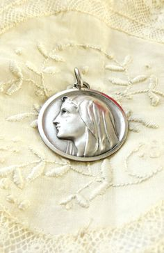 French Holy Mary / Marie / Madonna big  silver medal  catholic virgin miracle holy mother religious jewelry 1 1/4 inch diameter by 2shoppingdiva on Etsy