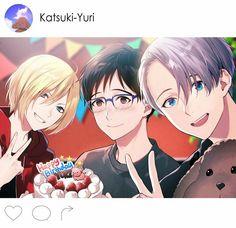 Happy Birthday Yuuri, Viktor, Yuuri, Yurio, smiling, peace signs, cake, Makkachin, cute, Instagram; Yuri!!! on Ice
