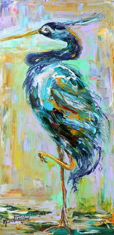 Original oil painting Blue Heron Water bird abstract impressionism fine art impasto on canvas by Karen Tarlton