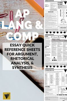 """*Includes 2019 Course Update* Quick reference """"cheat sheets"""" for argument, rhetorical analysis, and synthesis are the perfect handout for your AP Language and Composition students! Argumentative Writing, Essay Writing, Teaching Writing, Teaching Tools, Teaching Kids, Ap English, English Language, Language Arts, Language School"""