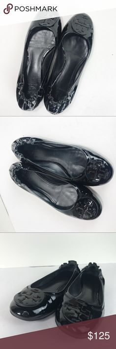 91986a254fe5 Tory Burch Black Patent Leather Reva Flats Size 8 Tory Burch Black Patent  Leather Reva Flats