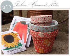 DIY Fabric flower pot.  Made these yrs ago and again recently.  Paint terra cotta pot, apply 1-ply designed napkin and modge podge.  Add another layer of the mp and let dry.