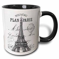 3dRose mug_110389_4 Nouveau Paris vintage Eiffel tower Two Tone Black Mug 11 oz BlackWhite *** Read more reviews of the product by visiting the link on the image.
