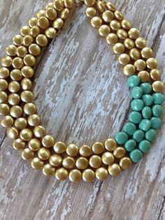 Gold Statement Necklace Gold and Aqua Splash by RoseWaterDesigns