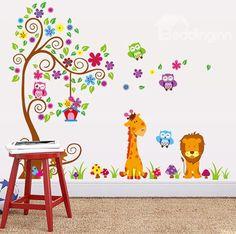 Trend Vivid Cartoon Tree and Animals Wall Sticker for Baby uKids