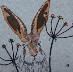 Hare in amongst seed heads by Jo Hill Textiles Free Motion Embroidery, Machine Embroidery Applique, Wool Applique, Art Projects, Sewing Projects, Stitch Drawing, Applique Cushions, Stitch Pictures, Fabric Pictures