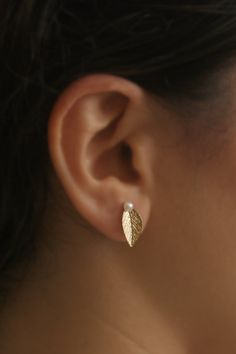 Leaf Posts Gold Leaf with a pearl Earrings by meytalbarnoy