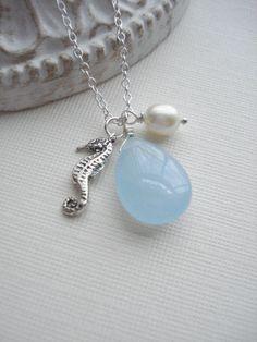 Sterling Seahorse Necklace Aqua Blue Jade Pearl by AnechkasJewelry, $36.00