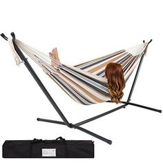 Best Choice Products Double Hammock With Space Saving Steel Stand Includes Portable Carrying Case Desert Stripe