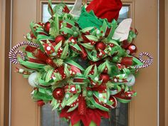 Elf Stuck In a Deco Mesh Holiday Wreath on Etsy, $165.00