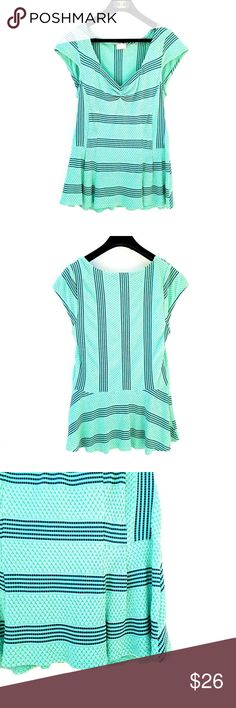 Anthropologie Green Navy Striped Peplum Top Postmark from Anthropologie, adorable peplum, flattering stripes Excellent condition  Feel free to ask me any additional questions! No trades, or modeling. Happy Poshing! Anthropologie Tops