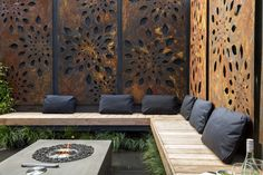 We'd happily spend our days relaxing in little oasis! Their outdoor screens from are on sale now for a limited time! Decorative Screens, Outdoor Rooms, Outdoor Decor, Garden Wall, Outdoor Screens, Garden Design, Outdoor Design, Outdoor Entertaining Area, Relaxing Outdoor Spaces