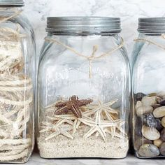 Make a memory jar with the shells and rocks they collected on the beach or on a hike. Coastal Style, Coastal Decor, Seaside Decor, Coastal Living, Coastal Cottage, Uses For Mason Jars, Deco Marine, Vacation Memories, Summer Memories