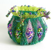 Brick stitch Stained Glass beaded vessel. Pattern  available.