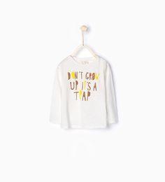 ZARA - KINDEREN - T-shirt met tekst en kurkenprint