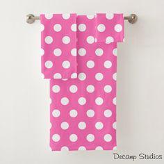 HOT PINK POLKA Dot Towel Set Girls Bathroom Decor