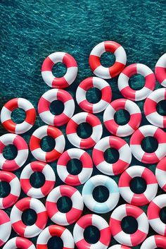 PATTERN Gray Malin Drifting Away- repetition of doughnut-shaped floaties, nice colors that compliment each other.