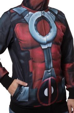 Sublimated Deadpool Costume Hoodie: Marvel Comics Deadpool Mens Hoodie