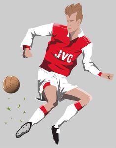 """This Bergkamp illustration has a bit of a Dragon Ball Z vibe. Bit superhero-y. Soccer Art, Football Art, Dennis Bergkamp, Graphic Illustration, Illustrations, North London, Arsenal Fc, Dragon Ball Z, Goal"