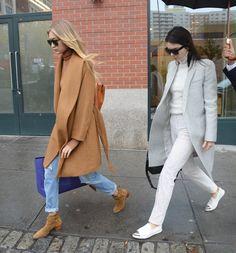 Gigi Hadid & Kendall Jenner leaving Kanye's apartment in New York City, November 10, 2015.