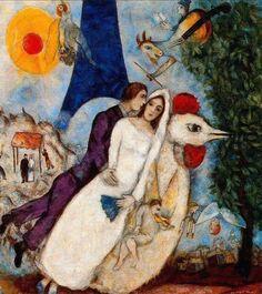 """""""Chegara como que levado pelo meu destino, com todos os meus sonhos, todos os meus pensamentos. Aspirava uma revolução visual.   Todos os meus apetites se satisfizeram ainda na plataforma da estação, quando encontrei aquela luz-liberdade (lumière-liberté) que não vira em parte alguma."""" Marc Chagall  Chegada em Paris no verão de 1910."""