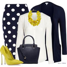 """Navy & Yellow 3"" by sonies-world on Polyvore...reduce that heel and chile...we got a deal!! 3.5 and lower for work"