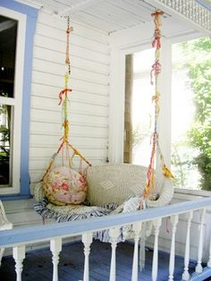 Dishfunctional Designs: This Ain't Yer Grandma's Porch Swing! DIY Swing Beds & Chairs (I could salvage that old wicker rocker!!)